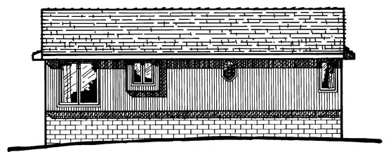 Traditional , Rear Elevation of Plan 97916