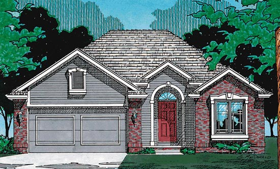 European House Plan 97920 with 2 Beds, 3 Baths, 2 Car Garage Elevation