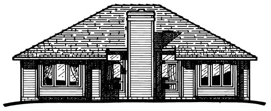 European , One-Story , Rear Elevation of Plan 97920