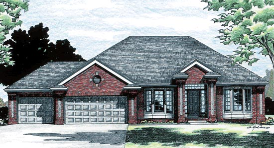 European House Plan 97921 Elevation