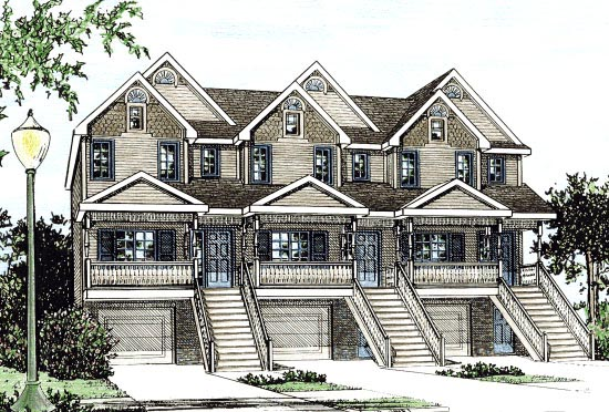 Bungalow Country Multi-Family Plan 97928 Elevation