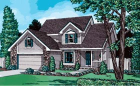 House Plan 97930 | European Traditional Style Plan with 1844 Sq Ft, 4 Bedrooms, 3 Bathrooms, 2 Car Garage Elevation