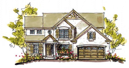 Bungalow, Colonial House Plan 97936 with 4 Beds, 3 Baths, 2 Car Garage Front Elevation