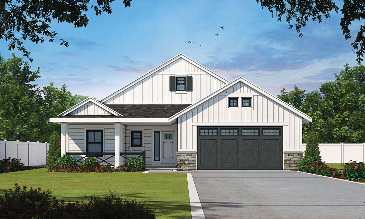 Modern Farmhouse, Modern House Plan 97950 with 3 Beds, 2 Baths, 2 Car Garage Elevation