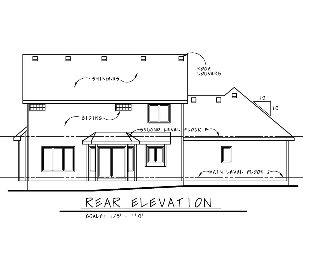 Craftsman , Rear Elevation of Plan 97951