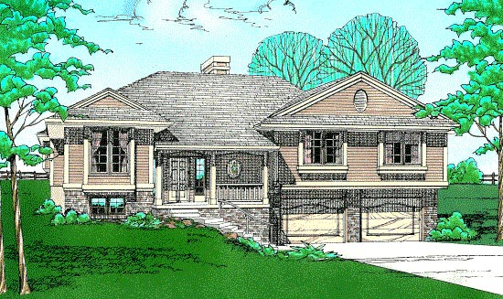 Traditional House Plan 97954 with 3 Beds, 2 Baths, 2 Car Garage Elevation