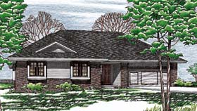 House Plan 97955 | Traditional Style Plan with 1392 Sq Ft, 3 Bedrooms, 2 Bathrooms, 2 Car Garage Elevation
