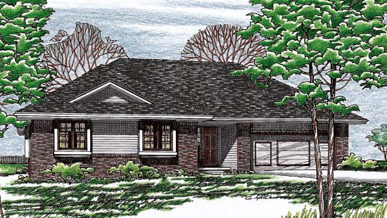 One-Story , Traditional , Elevation of Plan 97955
