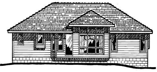 One-Story , Traditional , Rear Elevation of Plan 97955