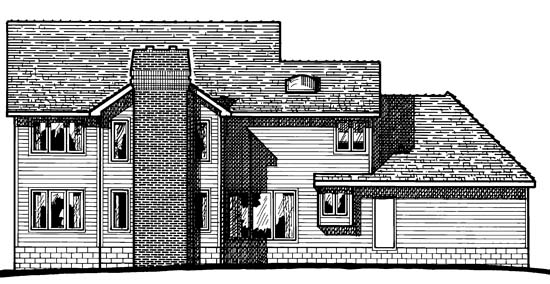 Colonial House Plan 97958 Rear Elevation