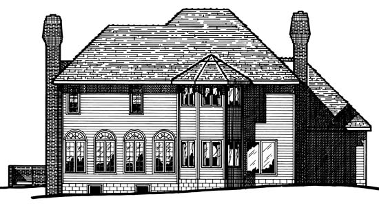 House Plan 97961 | Victorian Style Plan with 3407 Sq Ft, 4 Bedrooms, 3 Bathrooms, 3 Car Garage Rear Elevation