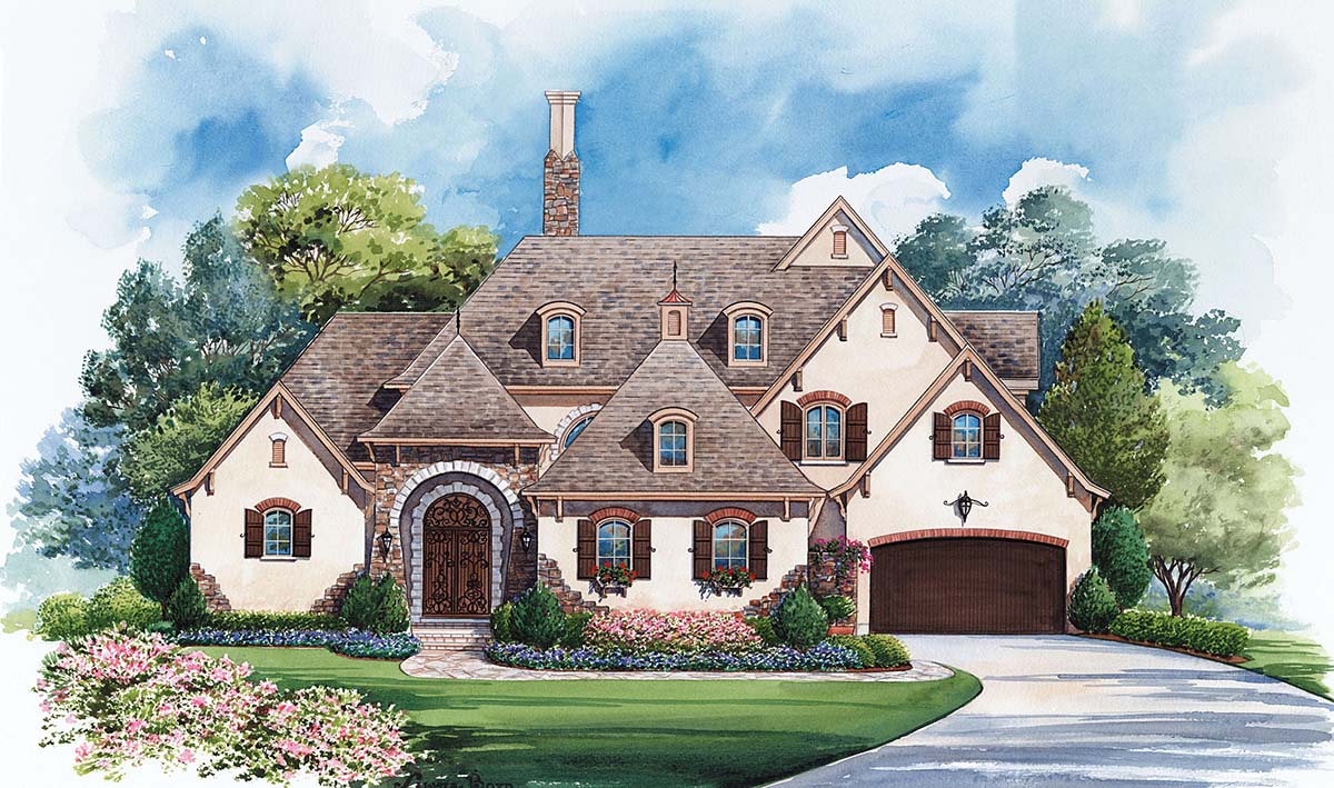 French Country House Plan 97976 with 4 Beds, 5 Baths, 4 Car Garage Elevation
