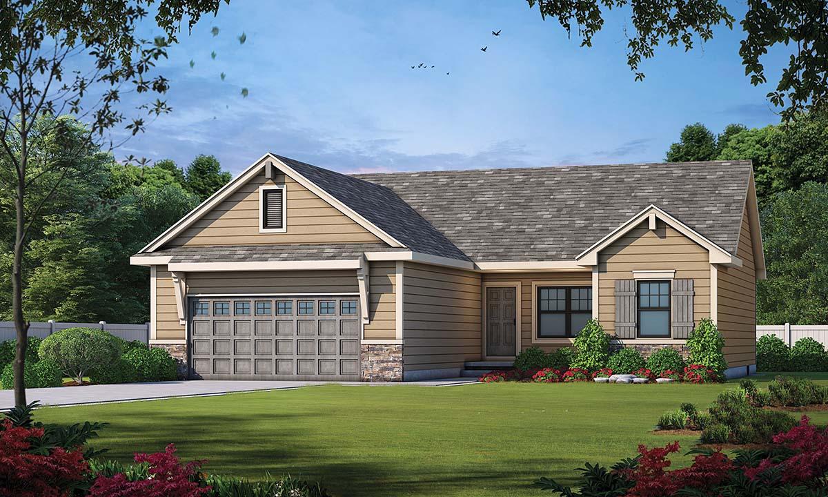 Craftsman House Plan 97978 with 3 Beds, 2 Baths, 2 Car Garage Elevation