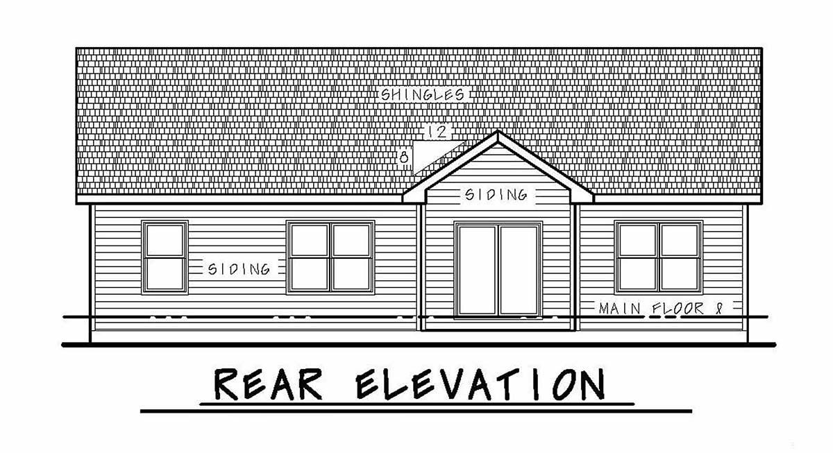 Craftsman Rear Elevation of Plan 97978