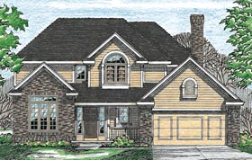 House Plan 97979   Country Style Plan with 2174 Sq Ft, 4 Bedrooms, 3 Bathrooms, 2 Car Garage Elevation