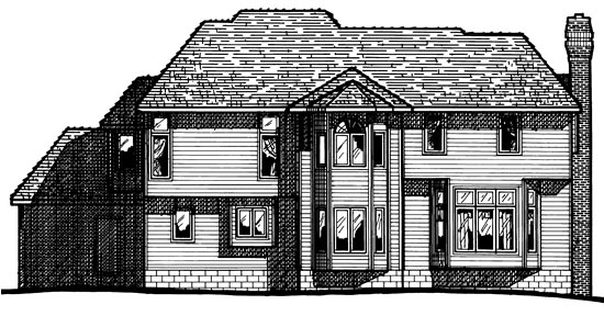 House Plan 97985 | European Tudor Style Plan with 3080 Sq Ft, 5 Bedrooms, 4 Bathrooms, 3 Car Garage Rear Elevation