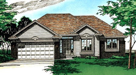 Traditional, House Plan 97988 with 3 Beds, 2 Baths, 2 Car Garage Elevation