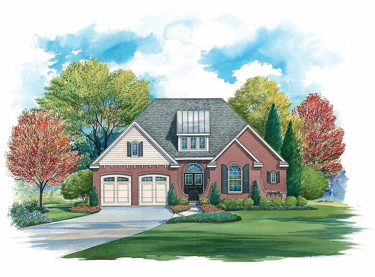 Traditional House Plan 97995 with 4 Beds , 4 Baths , 2 Car Garage Elevation