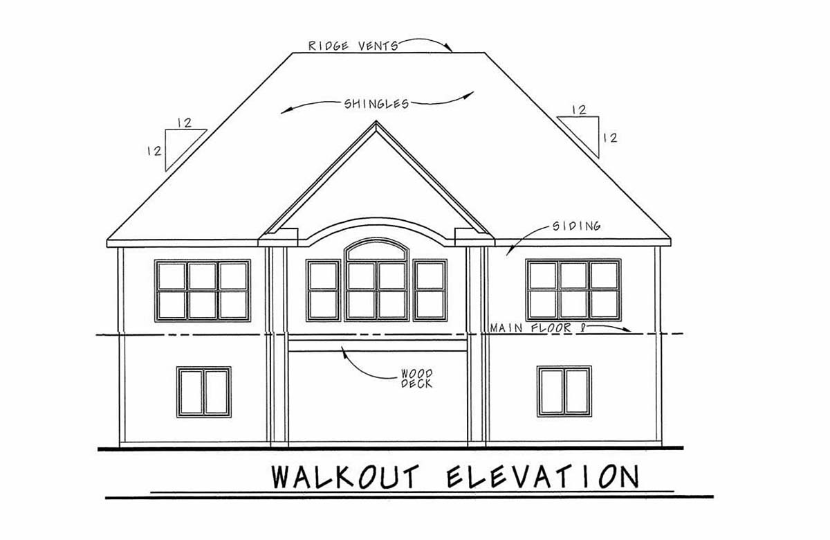 Traditional Rear Elevation of Plan 97995