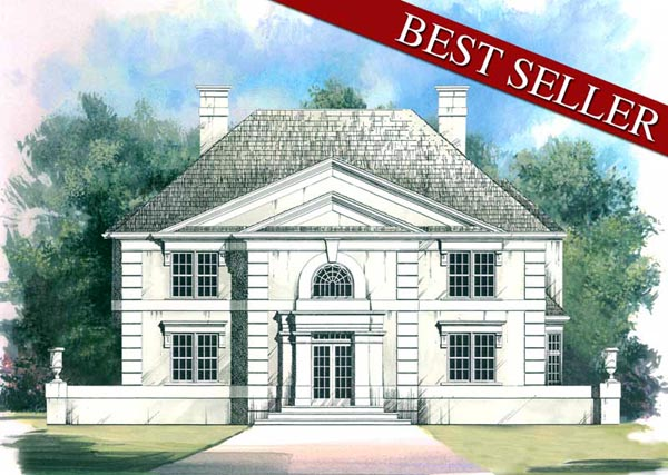 Colonial, European House Plan 98200 with 4 Beds, 4 Baths, 3 Car Garage Elevation