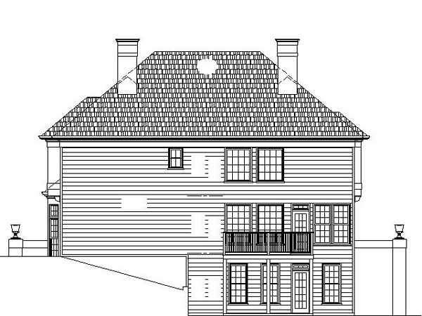 Colonial European House Plan 98200 Rear Elevation