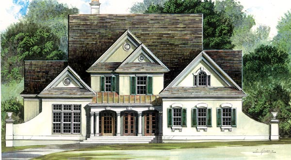 Colonial, Country House Plan 98201 with 4 Beds, 3 Baths, 2 Car Garage Elevation