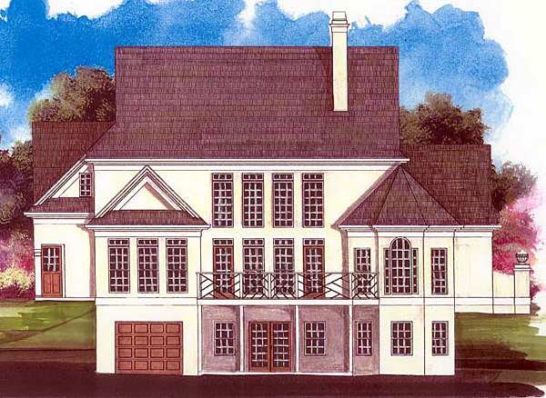Colonial, Country House Plan 98201 with 4 Beds, 3 Baths, 2 Car Garage Rear Elevation