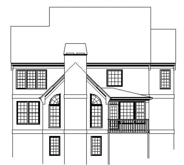 European House Plan 98202 Rear Elevation