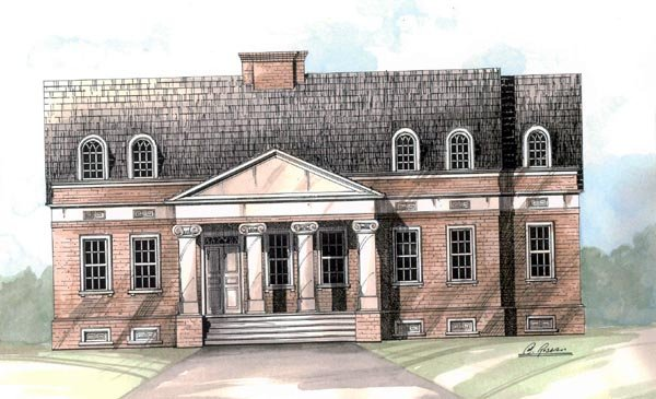 Colonial , European House Plan 98203 with 3 Beds, 3 Baths, 2 Car Garage Elevation