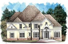 House Plan 98204 | European Style Plan with 2520 Sq Ft, 4 Bedrooms, 3 Bathrooms, 2 Car Garage Elevation
