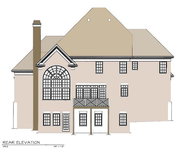 European House Plan 98204 Rear Elevation