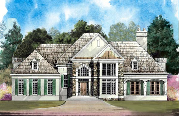 European, Greek Revival House Plan 98207 with 4 Beds, 4 Baths, 2 Car Garage Front Elevation