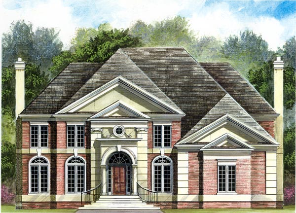 Colonial , European House Plan 98208 with 4 Beds, 4 Baths, 3 Car Garage Elevation