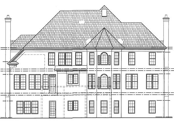Colonial European House Plan 98208 Rear Elevation