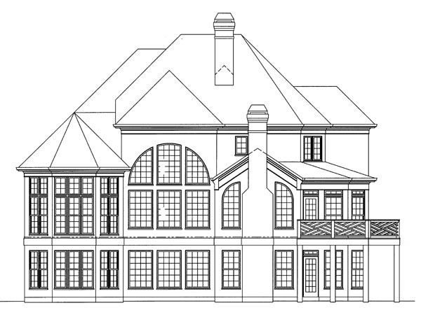 European, Greek Revival House Plan 98211 with 4 Beds, 4 Baths, 3 Car Garage Rear Elevation