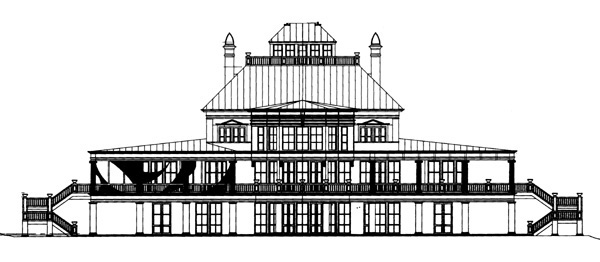Greek Revival Traditional House Plan 98215 Rear Elevation