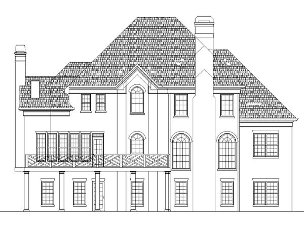 Victorian , European House Plan 98218 with 4 Beds, 4 Baths, 2 Car Garage Rear Elevation