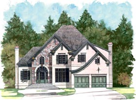 European Traditional House Plan 98219 Elevation