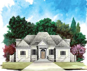 Colonial , European House Plan 98225 with 4 Beds, 3 Baths, 2 Car Garage Elevation