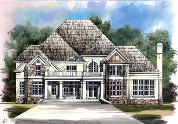 Colonial European Greek Revival Tudor Elevation of Plan 98227