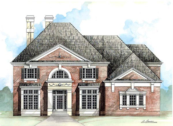 Colonial European Greek Revival House Plan 98228 Elevation