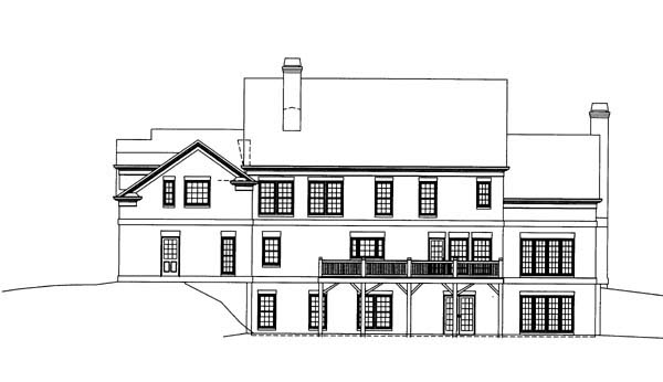Colonial Greek Revival House Plan 98229 Rear Elevation