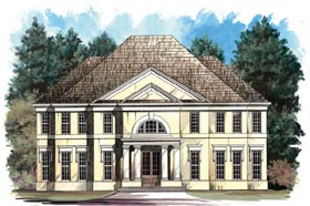 Colonial , European House Plan 98231 with 4 Beds, 4 Baths, 2 Car Garage Elevation