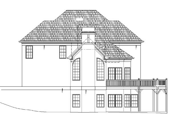 Colonial, European House Plan 98231 with 4 Beds, 4 Baths, 2 Car Garage Rear Elevation