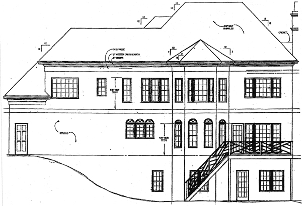 Colonial European House Plan 98232 Rear Elevation
