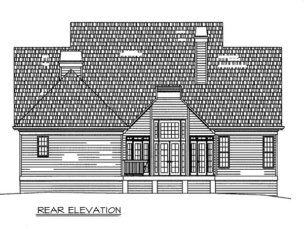 House Plan 98233 | Colonial European Style Plan with 2330 Sq Ft, 3 Bedrooms, 3 Bathrooms, 2 Car Garage Rear Elevation