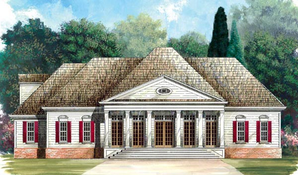 Colonial House Plan 98234 with 4 Beds, 4 Baths, 2 Car Garage Elevation