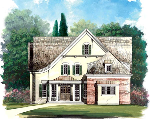 Colonial, Country House Plan 98235 with 4 Beds, 4 Baths, 2 Car Garage Elevation