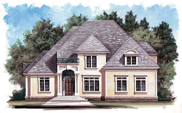 Colonial , European House Plan 98239 with 4 Beds, 3 Baths, 2 Car Garage Elevation