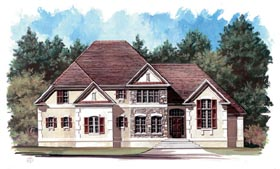 European , Tudor House Plan 98241 with 4 Beds, 3 Baths, 2 Car Garage Elevation
